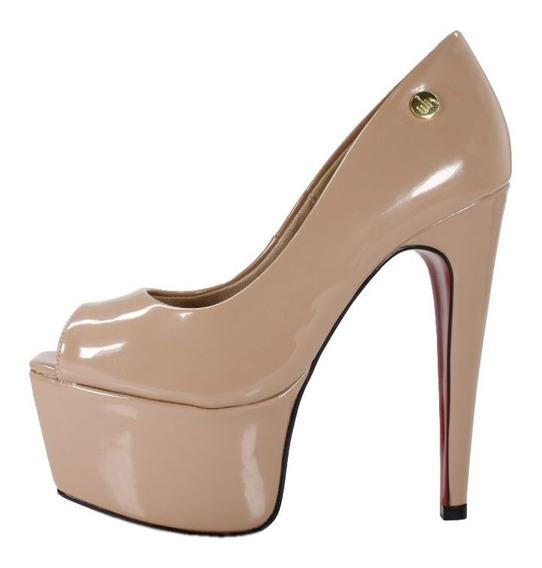 Peep Toe Meia Pata Week Shoes Salto 15 Nude Verniz