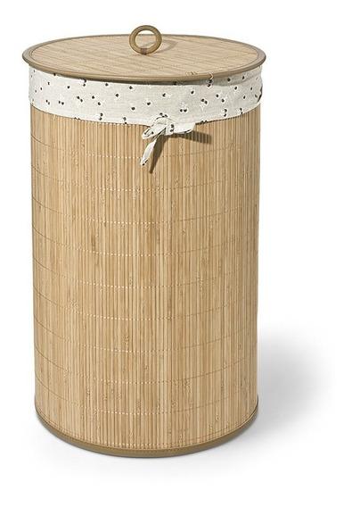 Cesto De Roupas Em Bambu Bencafil Natural 35x60cm Cereja