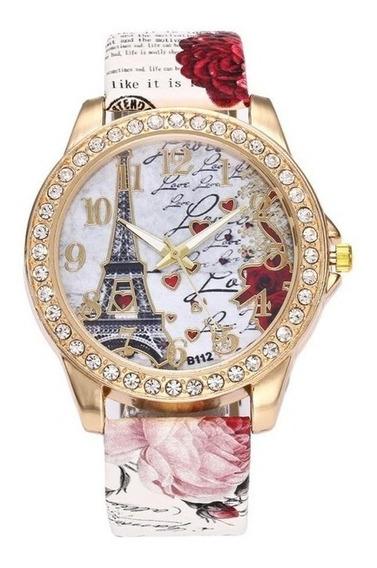 Relógio Feminino Pulso Flores Pulseira Moda Fashion