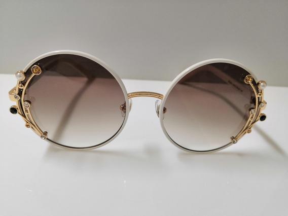 Óculos De Sol Jimmy Choo Gema/s Branco Onrjs Com Marrom Degradê