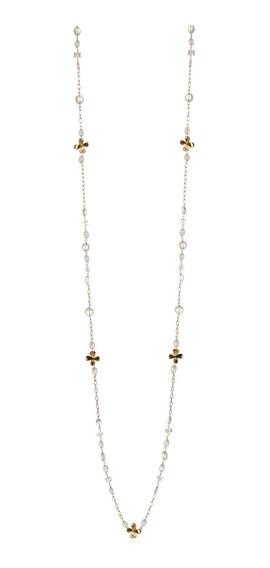 Collar De Mujer Hortensias Cuarzo Chapa Oro 18k Elena López