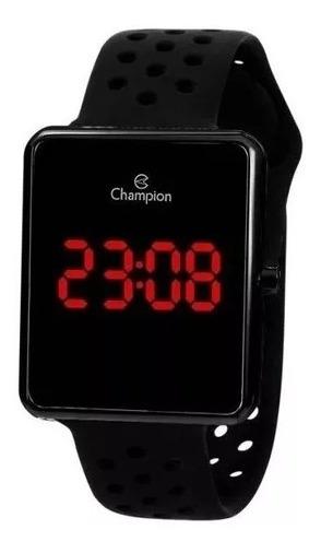 Relógio Champion Led Vermelho Ch40081d Preto Quadrado