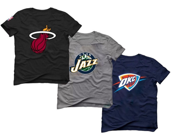 Kit 3 Camisetas Basquete Miami Heat Utah Jazz Thunder Nba