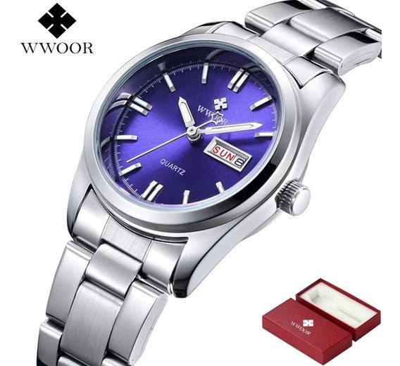 Relógio Feminino Azul Calendário Duplo Mod 8804