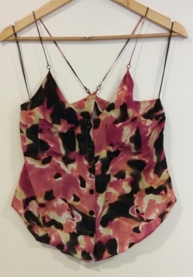 Musculosa Rosa Negro Print Batik Ayres Talle 42