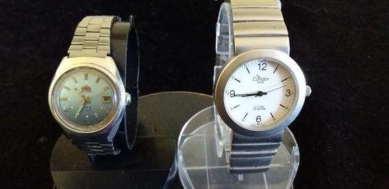 Lote 2 Relógios Antigo De Pulso Feminino Condor-orient