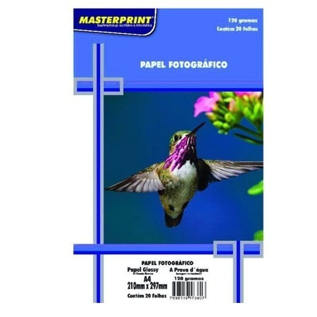 Papel Fotografico A4 Glossy 120g Com 20 Folhas Masterprint