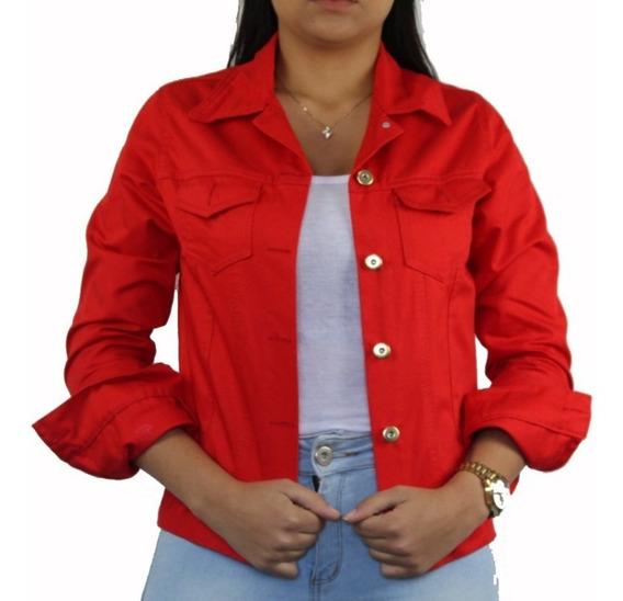 Jaqueta Jeans Sarja Feminina Vermelha