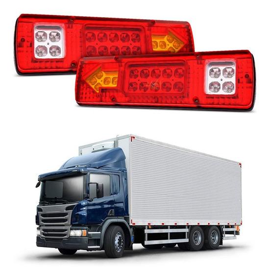 Lanterna Led Otima P/ Caminhão Carretinha Reboque 12/24v Par