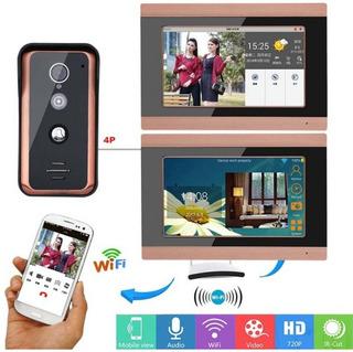 Kit Video Portero Wifi 2 Monitores 7 Pulgadas App Celular