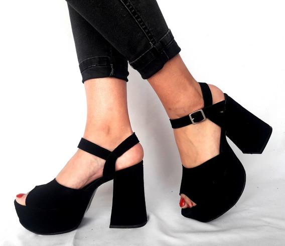 Sam123 Zapatos Stilettos Cuero Talles Grandes Sandy Negro