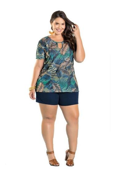 Conjunto Blusa Plus Size E Short Gordinha Extra Grande