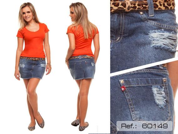 Mini Saia Cambos Puidos Jeans