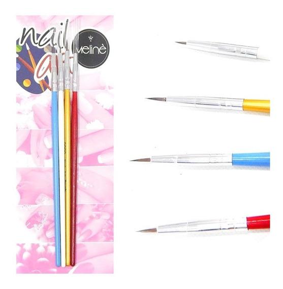 Meliné Kit X 4 Pinceles Decoración De Uñas Nail Art Esmalte