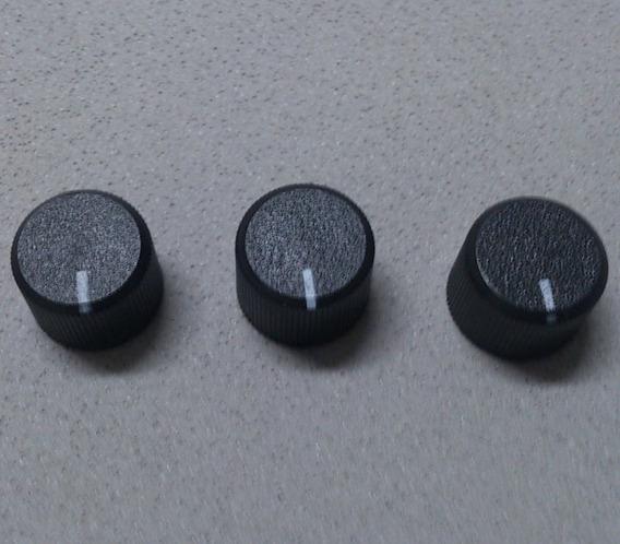3 Knobs 19mm Potenciômetro Estriado Plastico Preto Com Seta