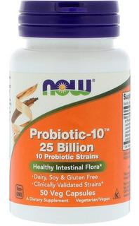 Probiotic-10(probiótico )25 Bilhoes Now Foods 50 Vegcápsulas