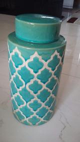 Potiche Cerâmica C/tampa Azul Turquesa E Branco 31,5 Alt