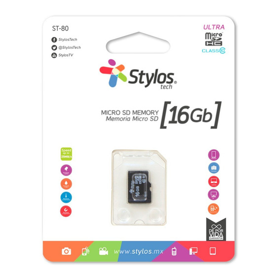 Stylos Memoria Micro Sd 16gb Mayoreo Original Nueva Sellada Garantia Alta Transferencia