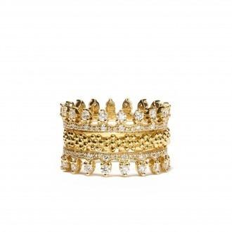Elegante Anel De Ouro The Crown