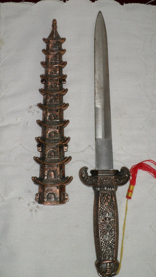 Bella Espada Decorativa China Metal Cobreado Con Pagodas