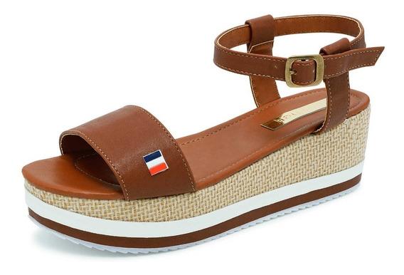 Sandalia Plataforma Suhey 6017 Camel/marino Para Dama