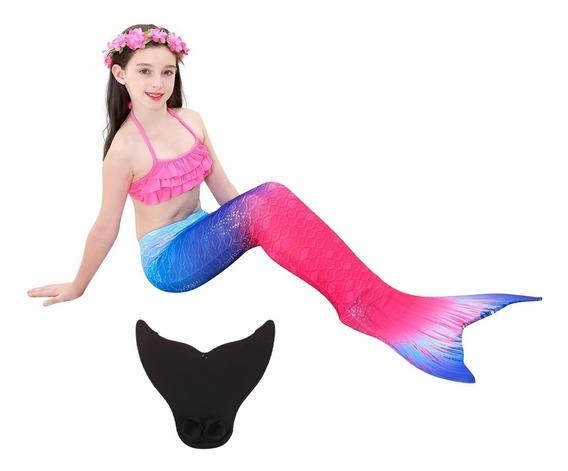 Envío Gratis Set 3 Sirena Cola Y Bikini Niñas Traje De Baño