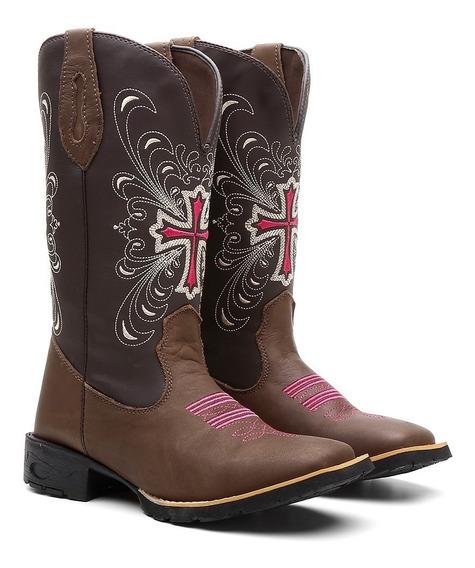 Bota Texana Feminina Country Em Couro Cruz + Brinde
