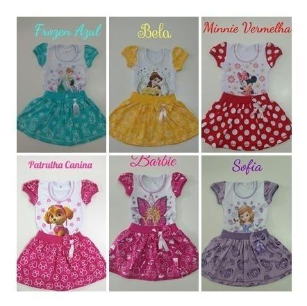 10 Und Vestido Infantil Masha Frozen Minnie Atacado