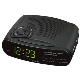 Rádio Relógio Digital Vst-906 Am/fm Luz Led Com Despertador