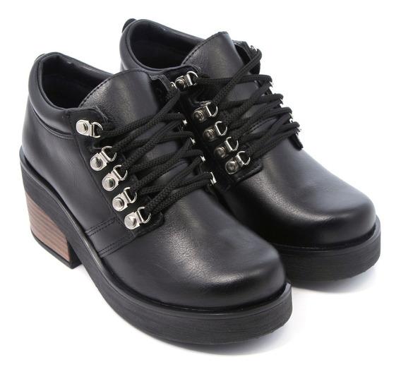 Zapato Mujer Eco Cuero Cordones Ojal Alpino Moda Savage