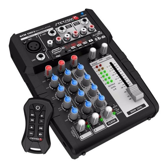 Mesa De Som Automotiva Stetsom Stm1003 Multiplayer Bluetooth Usb 3 Canais 12v + Controle Longa Distancia