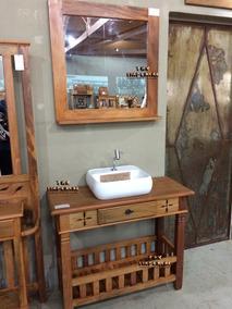 Aparador De Madeira Rustica 1m + Moldura Espelho Banheiro