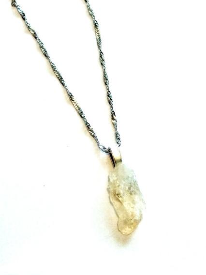 Dije Cuarzo Piedra Citrino 100% Natural. Incluye Cadena