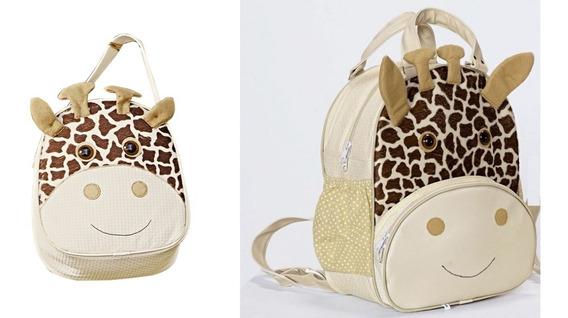 Kit Mochila E Lancheira Infantil Girafa Bebê E Escolar