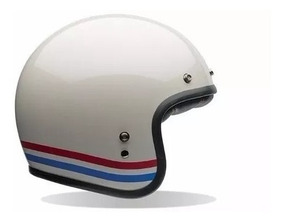 Capacete Bell Custom 500 Stripes Branco Fibra De Vidro