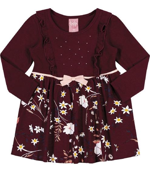 Vestido Kinha Em Cotton Estampado Outono Inverno