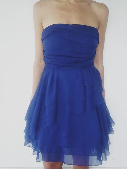 Vestido Corto Strapless Volados Azul Salta Barrio Periodista