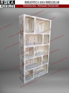 Biblioteca Asia Irregular 1.00x0.25x1.80 Patinado Envejecido