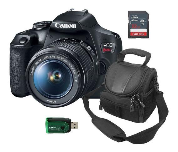 Câmera Canon T7+leitor De Cartão+cartão De Memória+bolsa