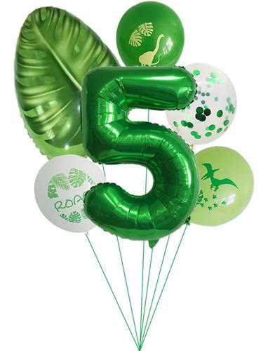 Imagen 1 de 4 de Decoración De Cumpleaños Decoración Dino Infantil Verde 6