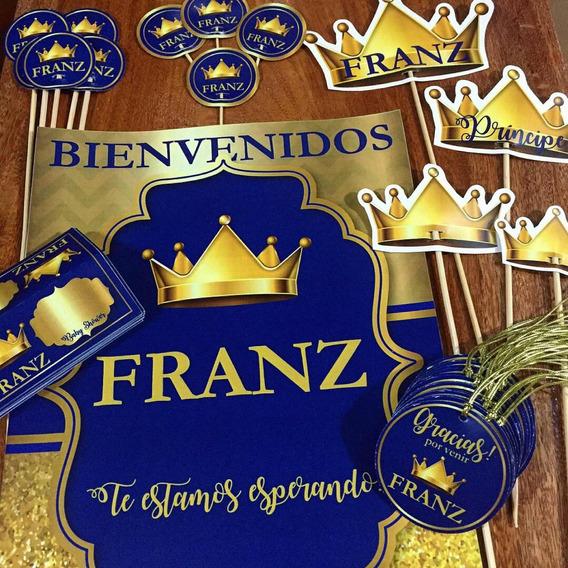 Corona Principe Azul Dorado Baby Shower Kit Impreso 12 Invit