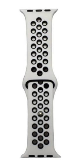 Pulseira Estilo Nike P/ Apple Watch 42/44mm Branca C Preto
