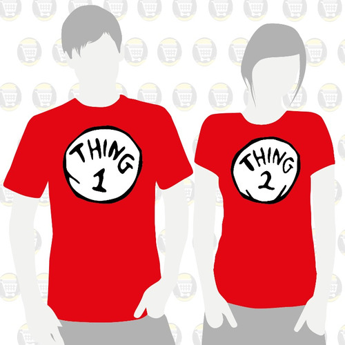 Camisetas Estampadas X2 Novios Parejas Amor Thing 1  Thing 2