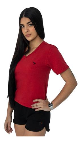 Imagem 1 de 7 de Kit 5 Camisetas Baby Look Feminina Gola V  Basica