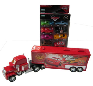 Cars Combo Camion Mack + 8 Autitos Rayo Macqueen Orig Ditoys
