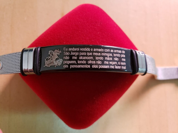 Pulseira Bracelete Unissex Aço Inox São Jorge Frete 10,00