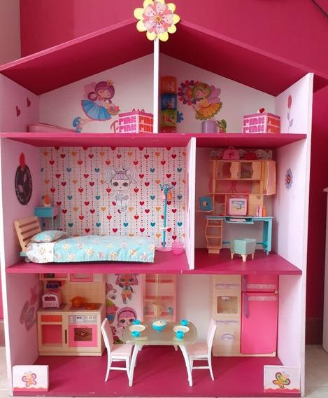 Casa De Barbie Mdf Con Accesorios Usada
