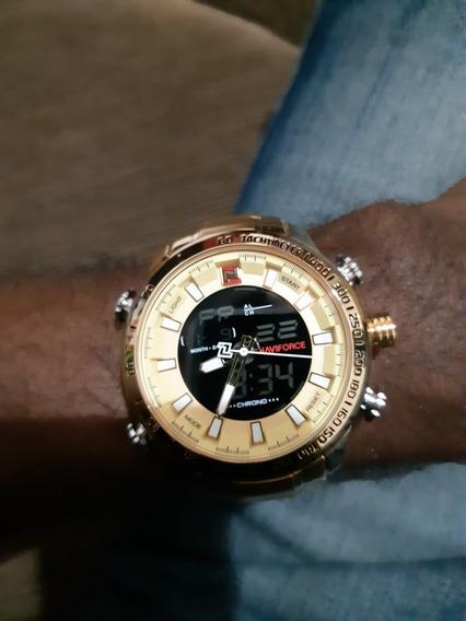 Relógio Dourado De Luxo Naviforce 9093