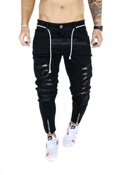Calça Masculina Jeans Sarja Skinny Slim Rasgada Zíper Lycra