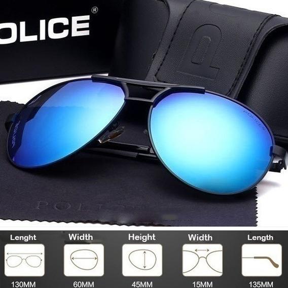 Óculos De Sol Aviador Police Preto Lentes Azul Claro